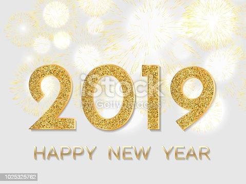 Istock Feliz Ano 2019 Fuegos Artificiales De Oro Sobre Fondo Claro