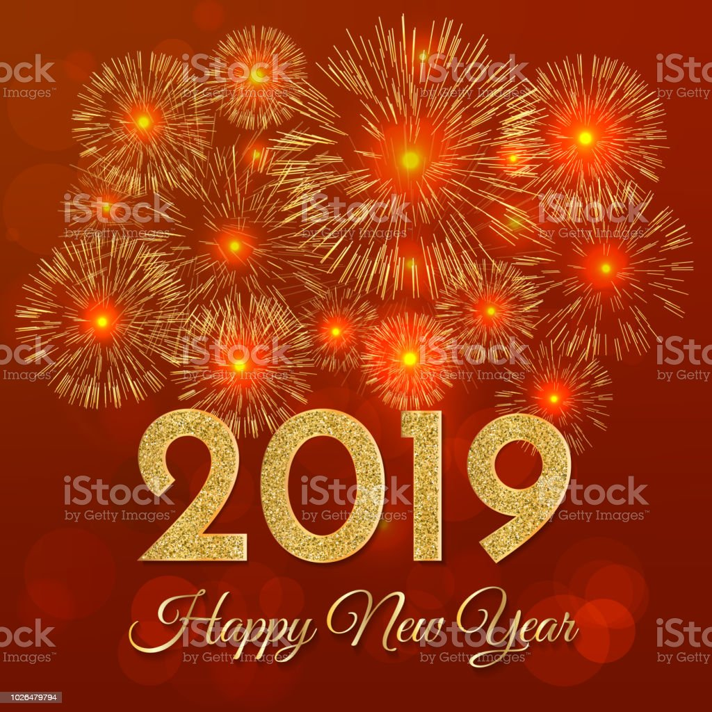 2019 happy new year gold fireworks on red background new year 2019 greeting card