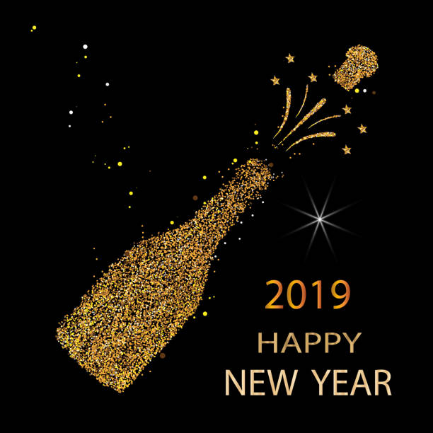 illustrazioni stock, clip art, cartoni animati e icone di tendenza di happy new year. gold glitter 2019. champagne icon. silhouette of a champagne bottle. vector illustration. - bottle soft drink