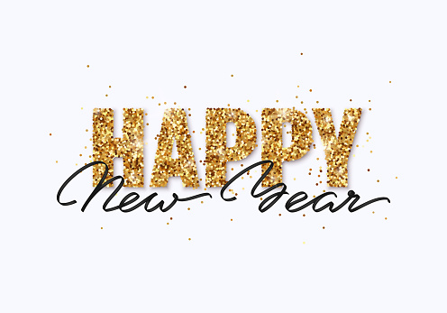 Happy New Year gold glitter design for greeting card, festive poster, website header. Christmas lettering with shining sparkling confetti.