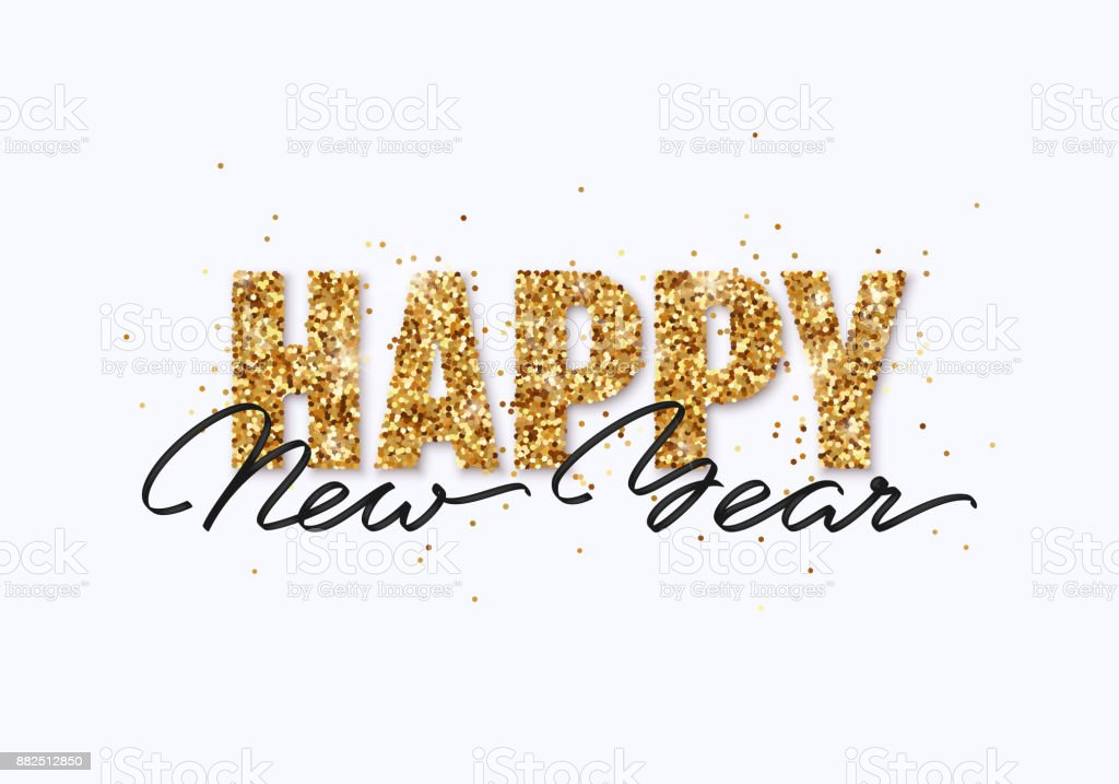 Happy New Year gold glitter design for greeting card, festive poster, website header. Christmas lettering with shining sparkling confetti. vector art illustration