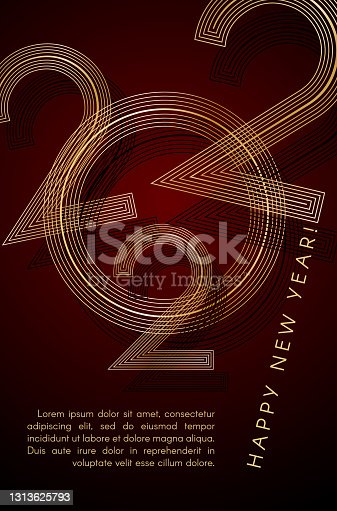 istock 2022 Happy New Year Gold lines on a red background Creative element for design luxury card invitation party New Year 2022 and Christmas Modern design gold line 2022 luxury invitation card Vector art 1313625793