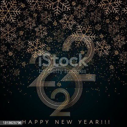 istock 2022 Happy New Year Gold lines snowflake on blue background Creative element for design elegant luxury card invitation party 2022 New Year and Christmas Modern design gold 2022 luxury snowflake Vector 1313625796
