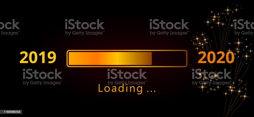 Carte Black Ou Gold.2020 Happy New Year Gold Loading Progress Bar With Fireworks
