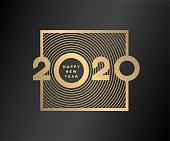 Happy new year, gold numbers 2020 on a dark background.