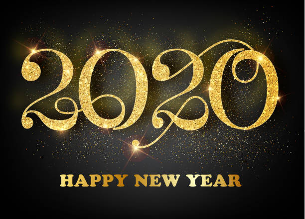 2020 happy new year. gold numbers design of greeting card. gold shining pattern. happy new year banner with 2020 numbers on bright background. vector illustration - happy new year stock illustrations