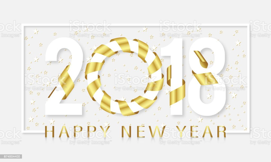 2018 Happy New Year Gold Ribbon Stars Background And White Line ...