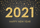 2021 Happy New Year gold text for greeting card