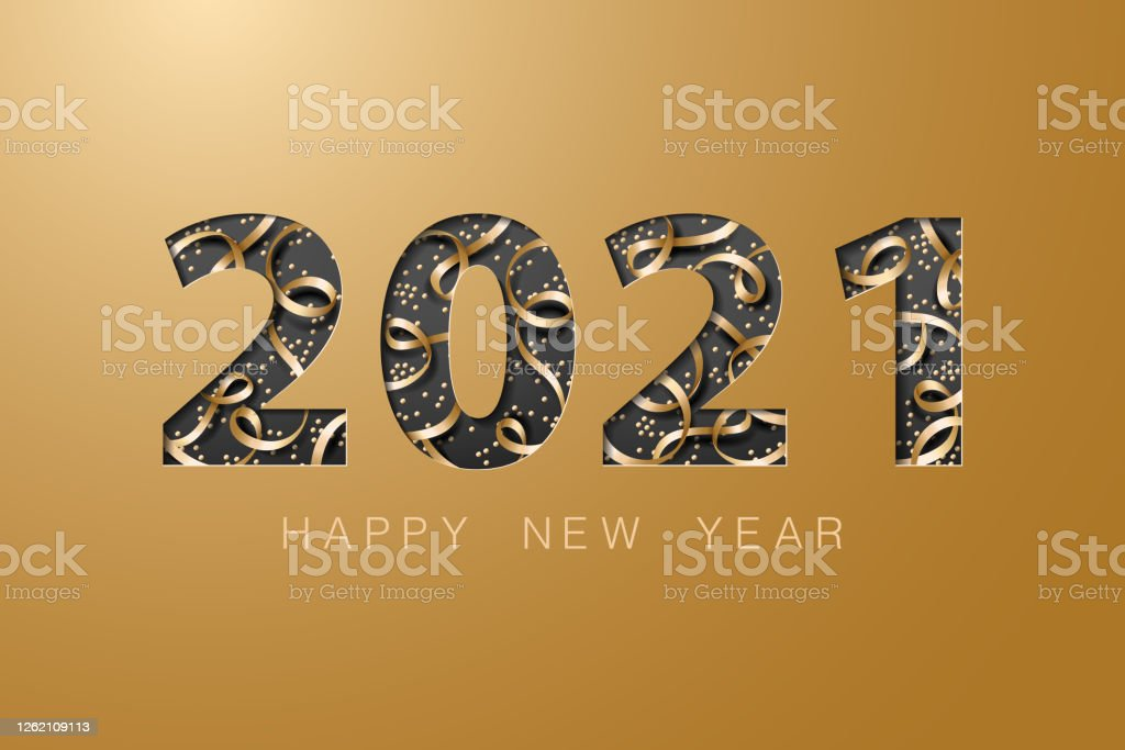 2021 happy new year golden banner background card - Royalty-free 2021 arte vetorial