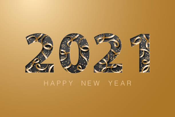 ilustrações de stock, clip art, desenhos animados e ícones de 2021 happy new year golden banner background card - happy new year
