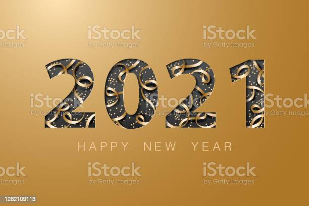 2021 Happy New Year Golden Banner Background Card - Arte vetorial de stock e mais imagens de 2021