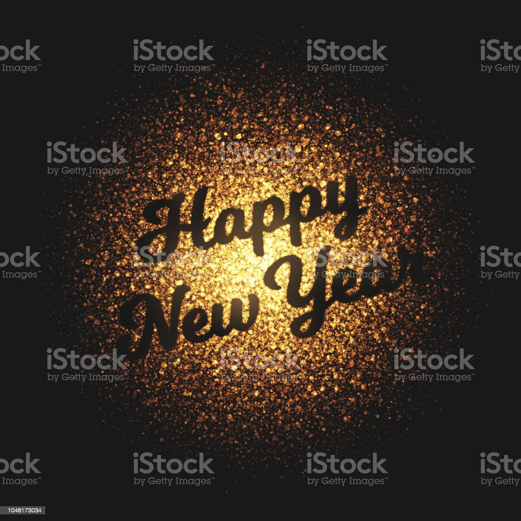 happy new year golden glowing particles vector background royalty free happy new year golden glowing