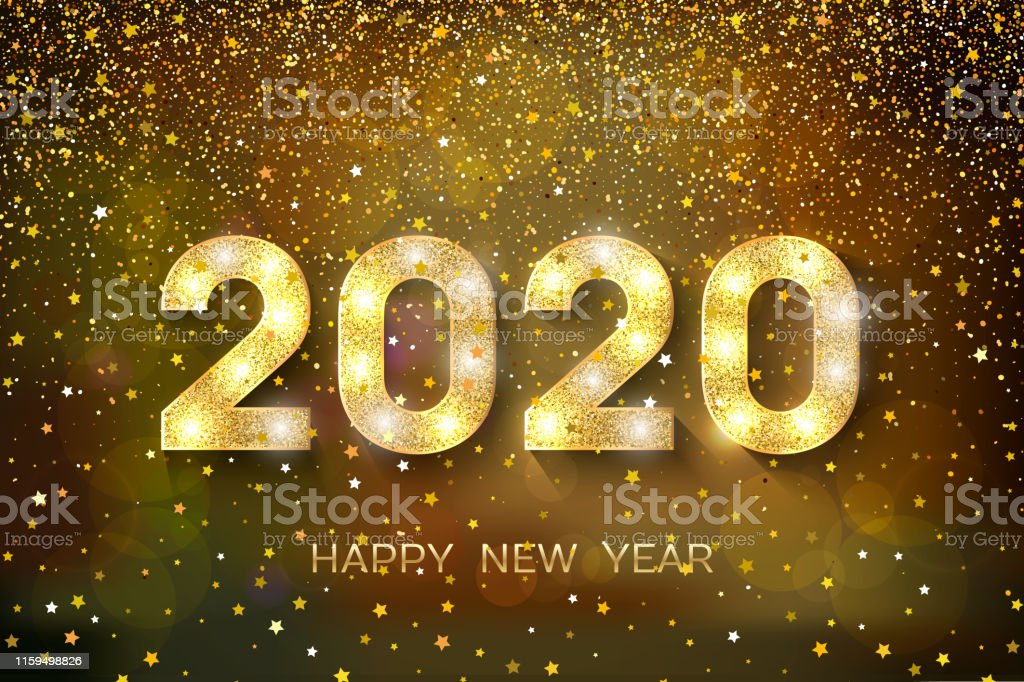 Happy New Year. Golden numbers and stars on dark background. New Year...