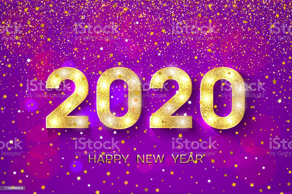 Happy New Year. Golden numbers and stars on violet background. New...
