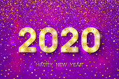 2020 Happy New Year. Golden numbers and stars on violet background. New Year 2020 greeting card. Vector illustration.