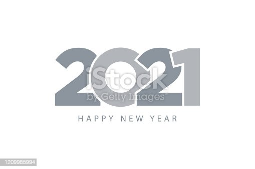 istock 2021 happy new year. Gray symbol metalic color flat design. Template for web and print banner, gift card. 1209985994