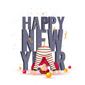 Happy New Year greeting card. Baby boy standing upside down and christmas balls. Volumetric words. Vector illustration for poster, banner, card, cover, postcard.