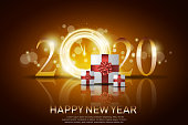 Happy New Year Greeting Card Background Vector Desing. Gift box for new year celebration.