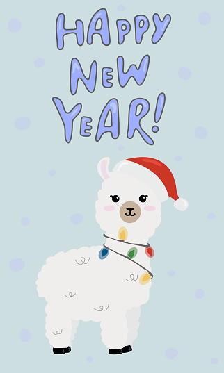 Happy New Year  greeting card, banner. Illustration of cute  alpaca in Santa Claus hat  on blue background.
