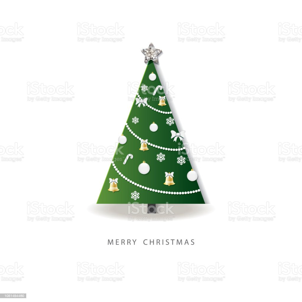 3d Paper Christmas Tree.Happy New Year Greeting Card Christmas Tree Decorated 3d