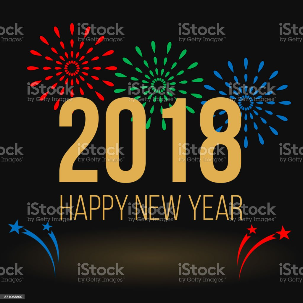 Happy New Year greeting card, colorful fireworks and golden text vector art illustration