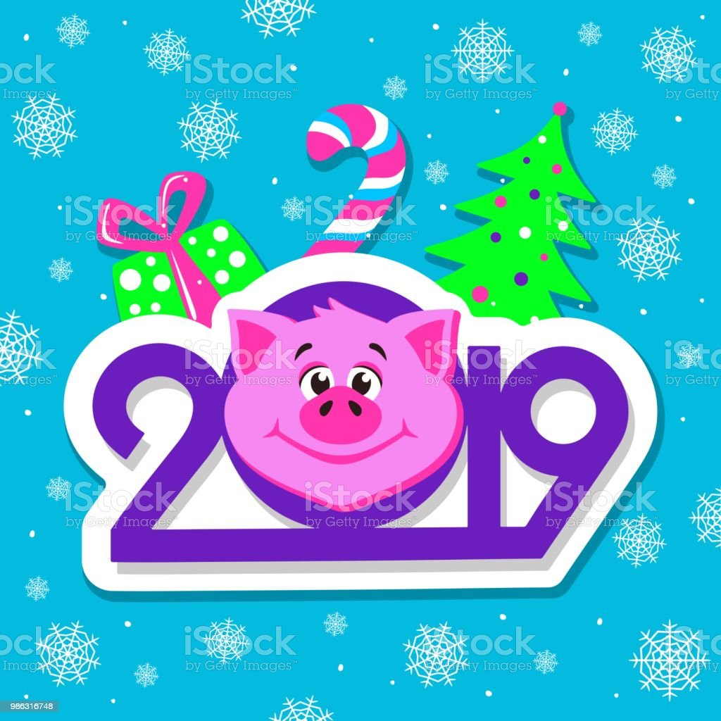 happy new year greeting card design with cartoon pigs face on blue background royalty