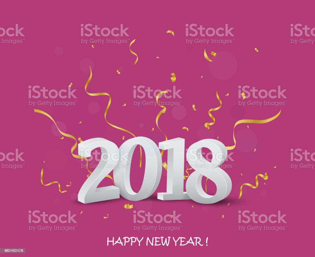 Happy New Year Greeting Card Design With Gold Confetti Stock Vector