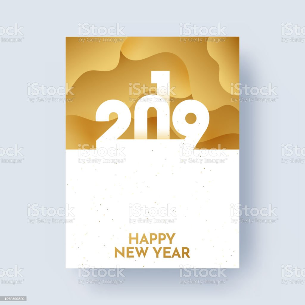 2019 Happy New Year Greeting Card Design With Space For Your Message