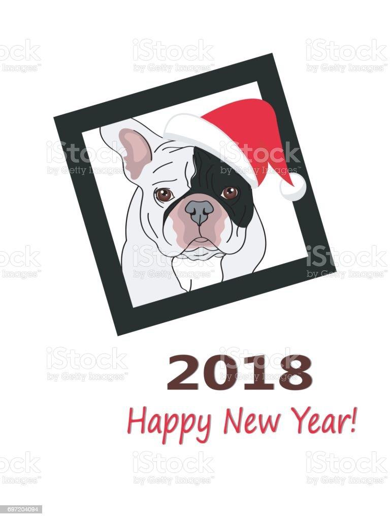 2018 Happy New Year Greeting Card French Bulldog In Santas Hat And A