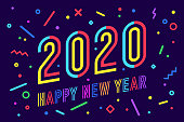 2020, Happy New Year. Greeting card with inscription Happy New Year 2020. Geometric bright style for Happy New Year 2020 or Merry Christmas. Holiday background, poster. Vector Illustration