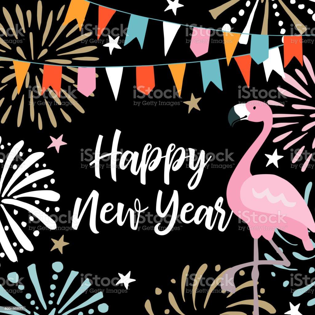 Ilustração De Feliz Ano Novo Cartão Convite Com Fogos De Artifício