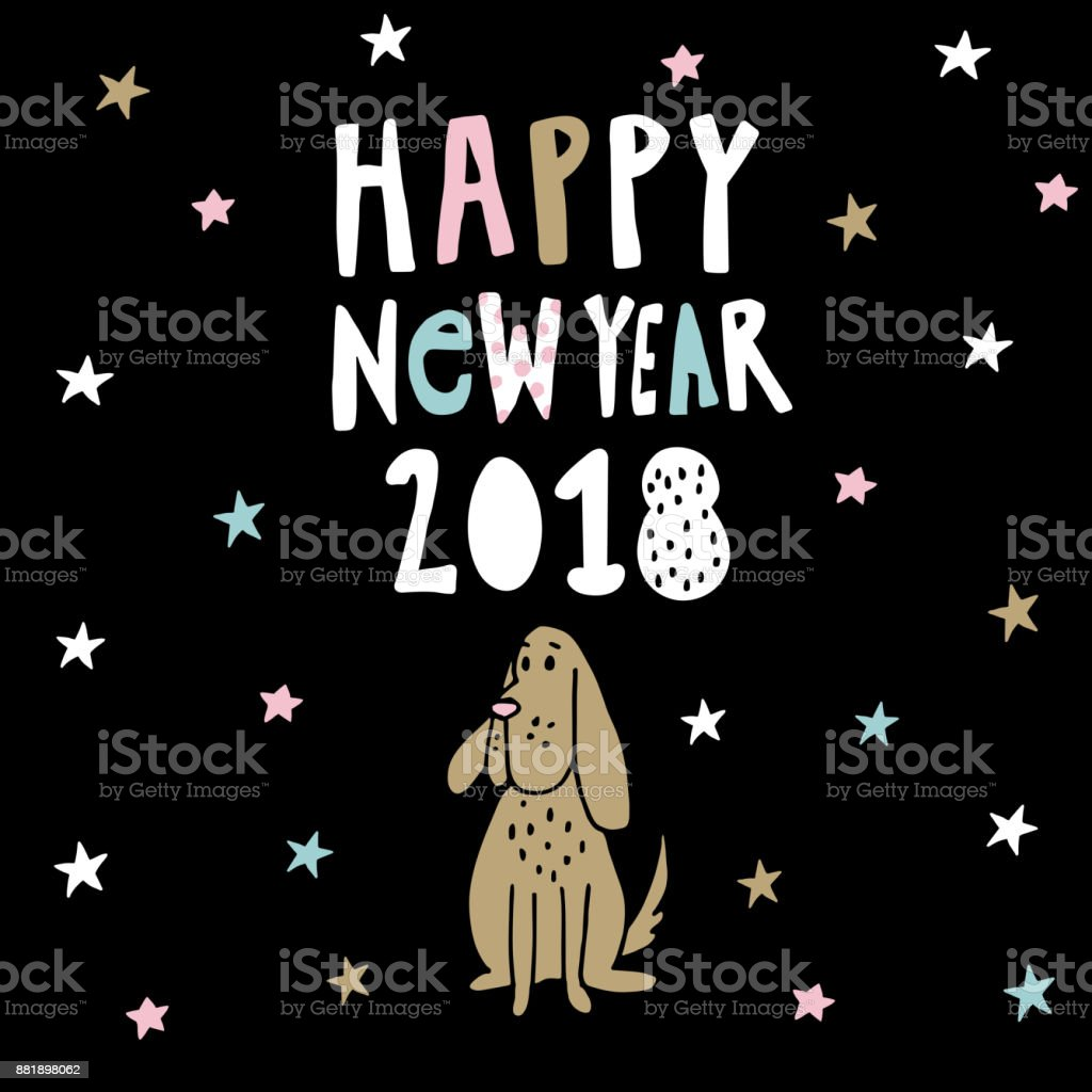 happy new year greeting card invitation with handwritten text stars and doodle dog