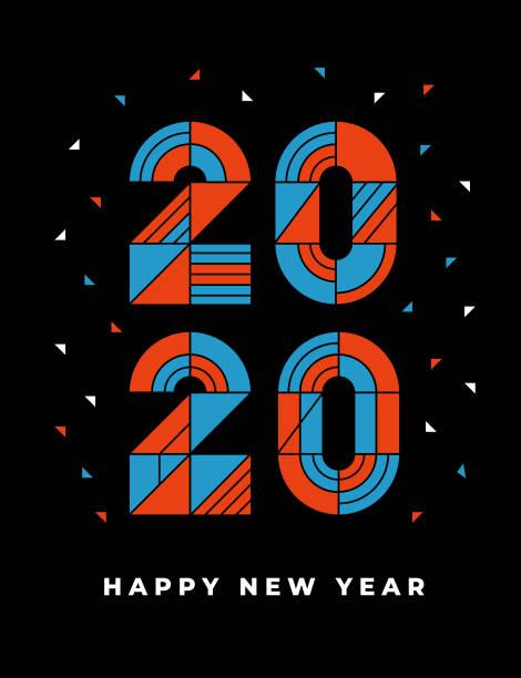 2020, happy new year, greeting card, modern design, vector art illustration