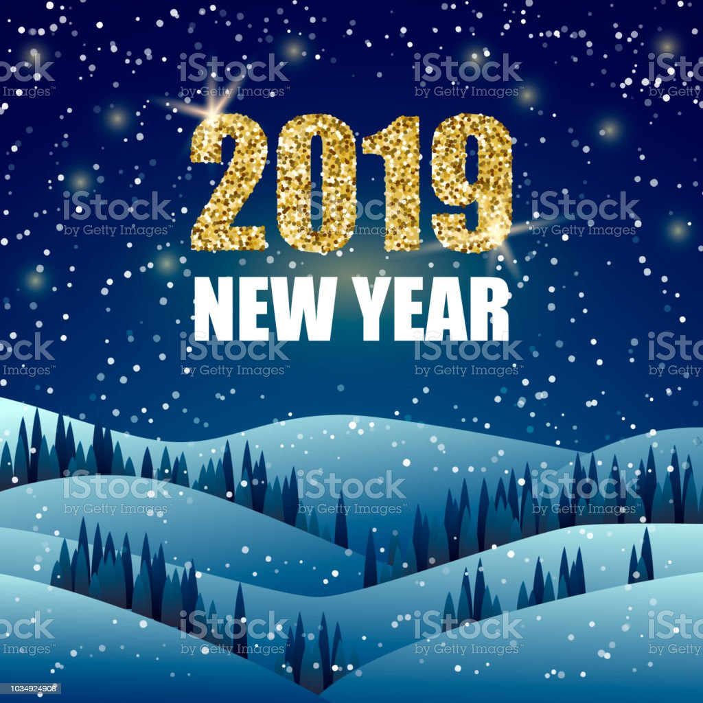 happy new year greeting card night winter landscape with 2019 new year text vector