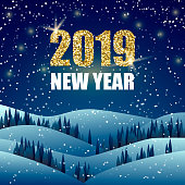 happy new year greeting card night winter landscape with 2019 new year text