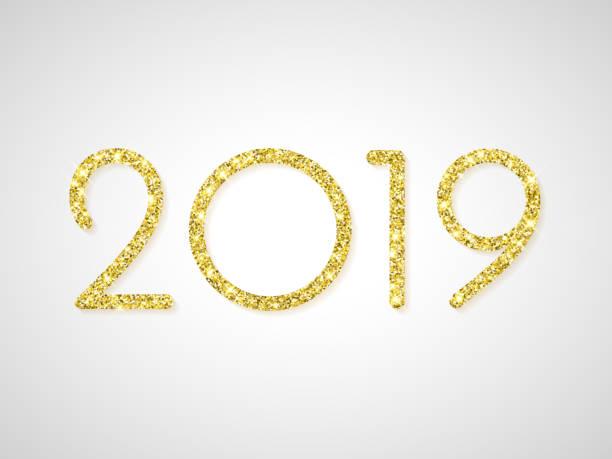 2019 Prosit Neujahr Grußkarte von golden Glitter. Vektor-funkelndes Licht für Weihnachten Urlaub Feier am weißen glänzenden Hintergrund – Vektorgrafik