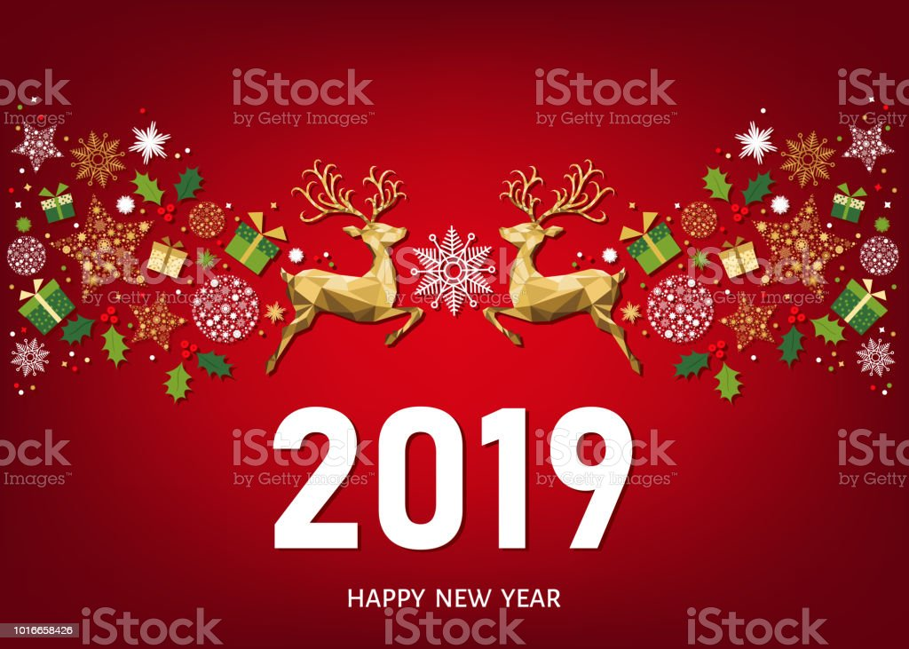 2019 happy new year greeting card on red background royalty free 2019 happy new