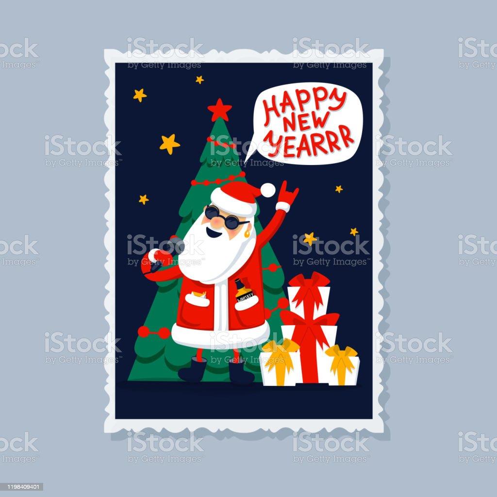 Gott nytt år gratulationskort. Sjungande jultomten-rockstjärna med gåvor, julgran och gott nytt år inskription på en pratbubbla. Xmas gratulationskort. Platt stil vektor illustration - Royaltyfri Affisch vektorgrafik