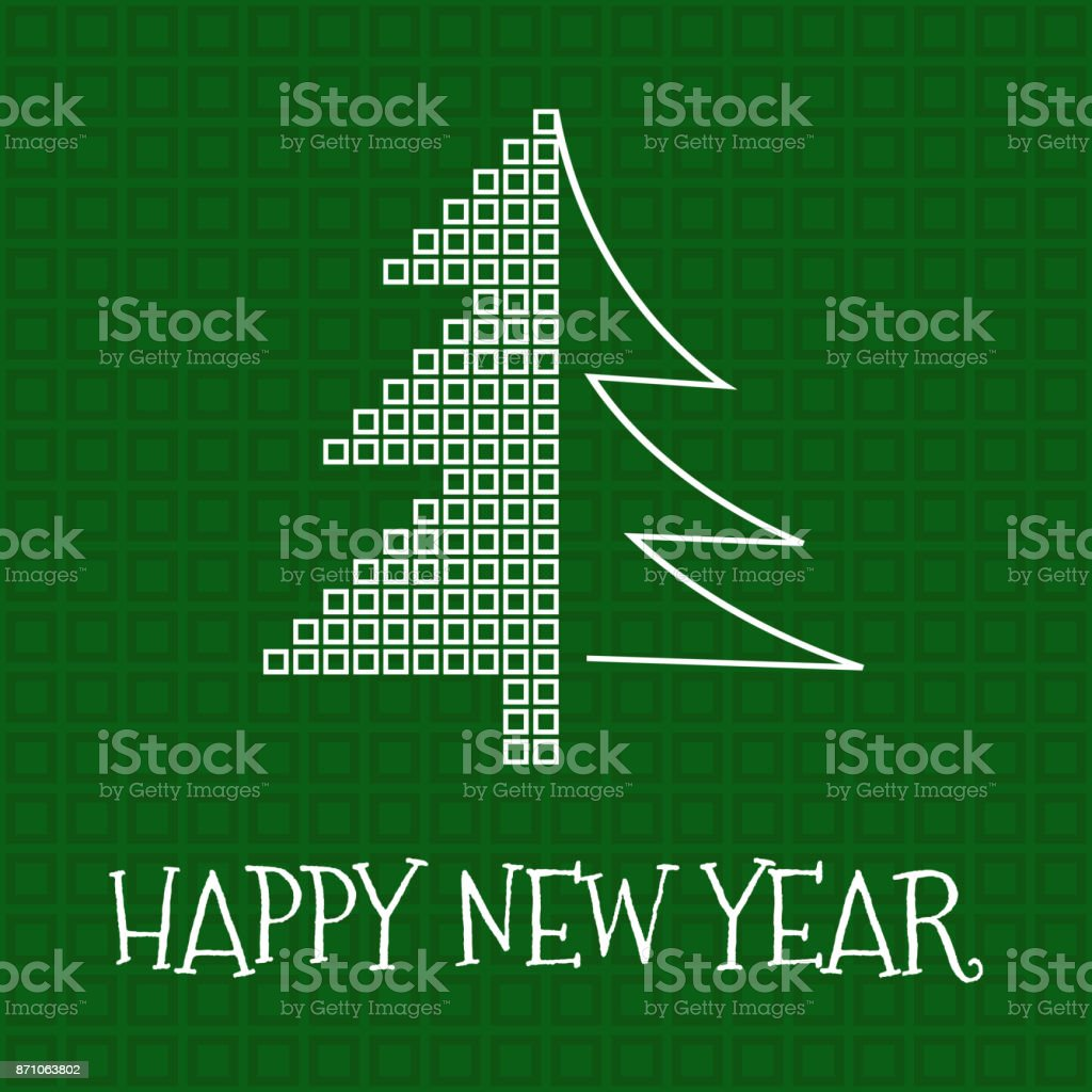 Happy New Year greeting card, square mosaic and silhouette christmas tree on green background vector art illustration