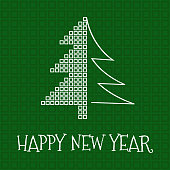 Happy New Year greeting card, square mosaic and silhouette christmas tree on green background