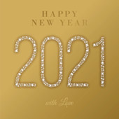 2021 - Happy New Year Greeting card. Stock illustration