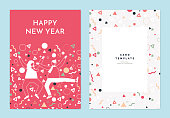 Happy new year greeting card template design, a couple dancing decorated with confetti on pink background