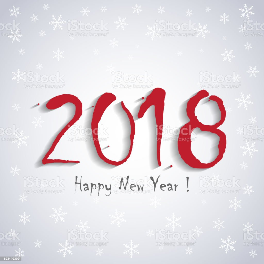 2018 happy new year greeting card template white snowflakes design royalty free