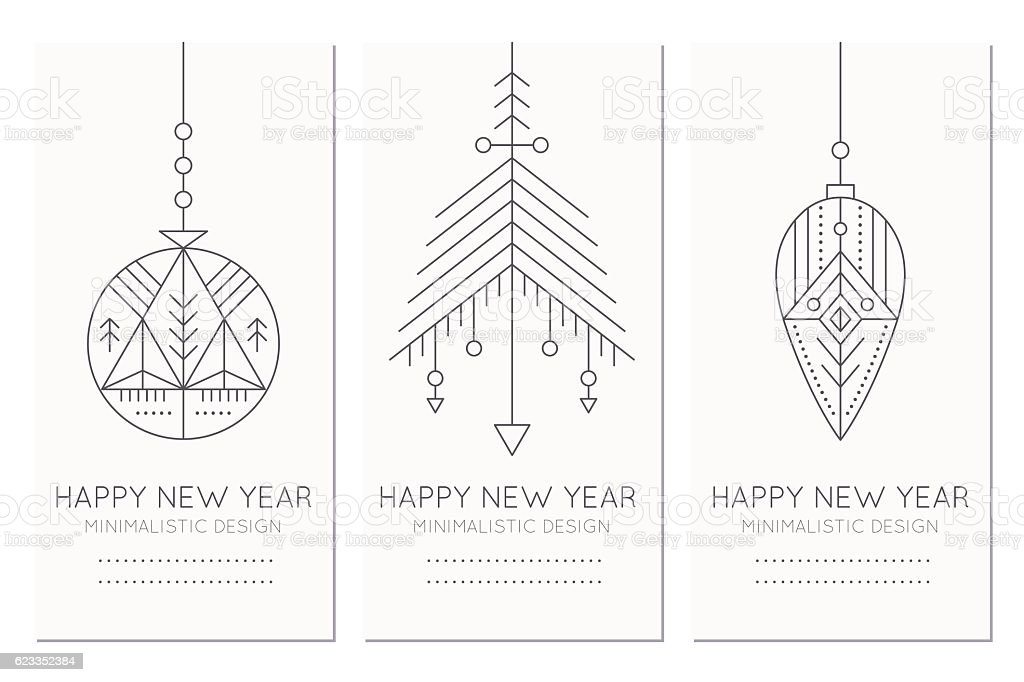 happy new year greeting card template with hanging decorations royalty free happy new year greeting