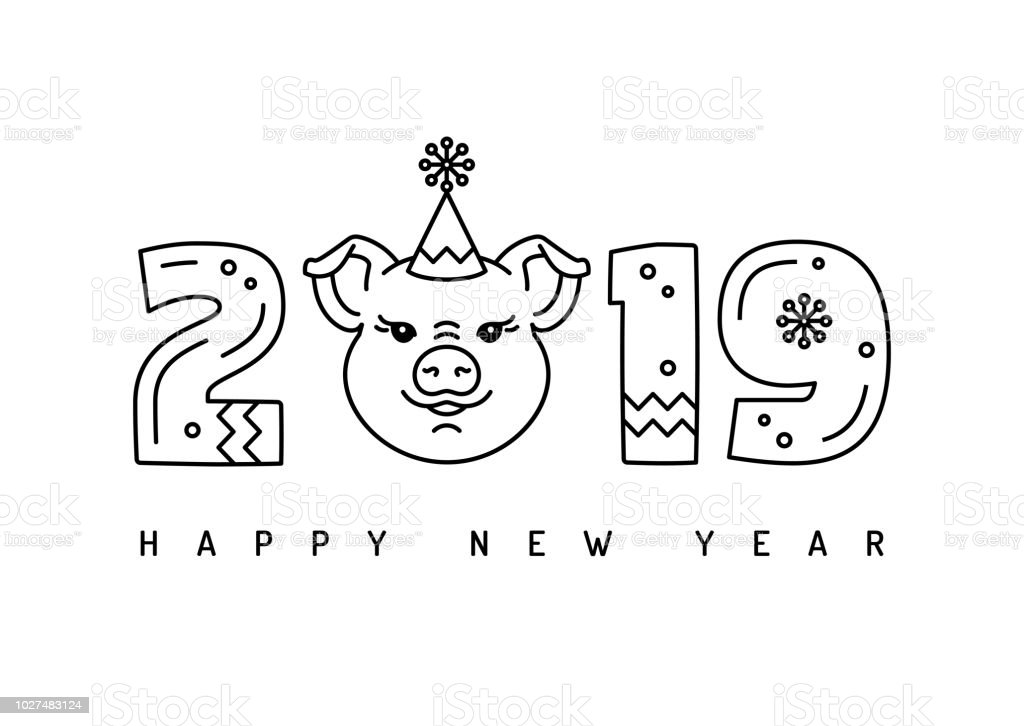 2019 happy new year greeting card thin line art minimalistic design number 2019