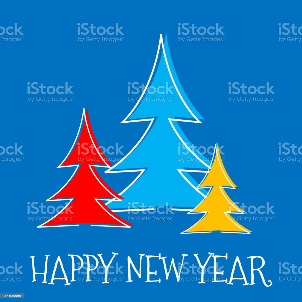 Happy New Year greeting card, three fir tree on blue background vector art illustration