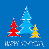 Happy New Year greeting card, three fir tree on blue background