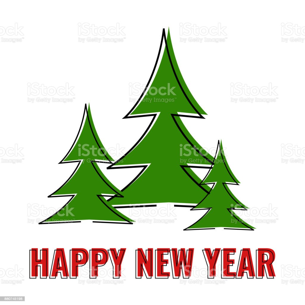 happy new year greeting card three green christmas tree on white background royalty free