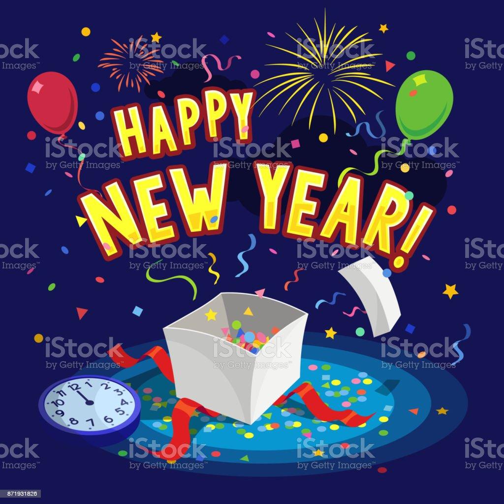 Happy new year greeting card vector art illustration