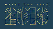 2019 Happy New year greeting card. Minimalist style, geometric thin golden outline. Vector, eps.10